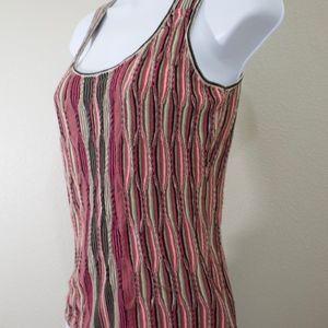 Nic & Zoe knit sweater tank top pink grey brown